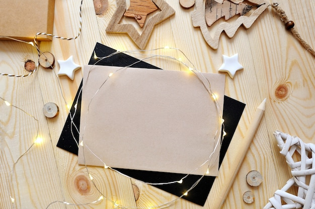 Christmas background kraft sheet of paper with place for your text Premium Photo