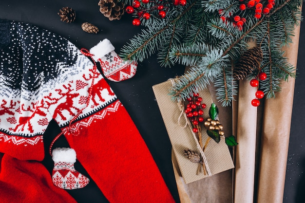 Christmas background layout on black background Free Photo