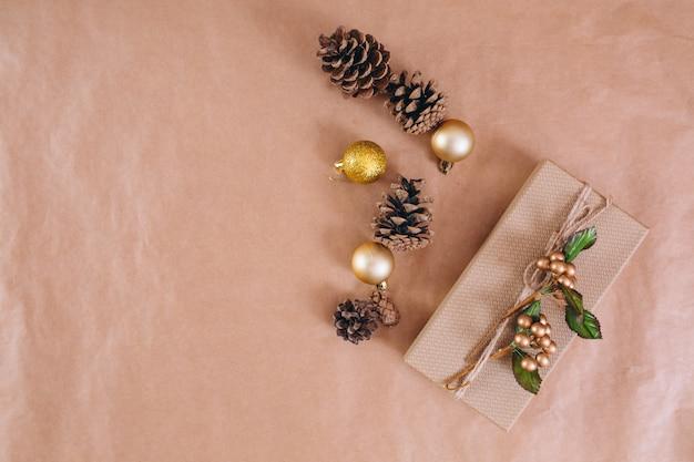 Christmas background layout on craft paper background Free Photo