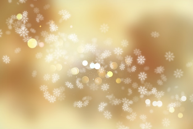 Christmas background of snowflakes and bokeh lights Free Photo