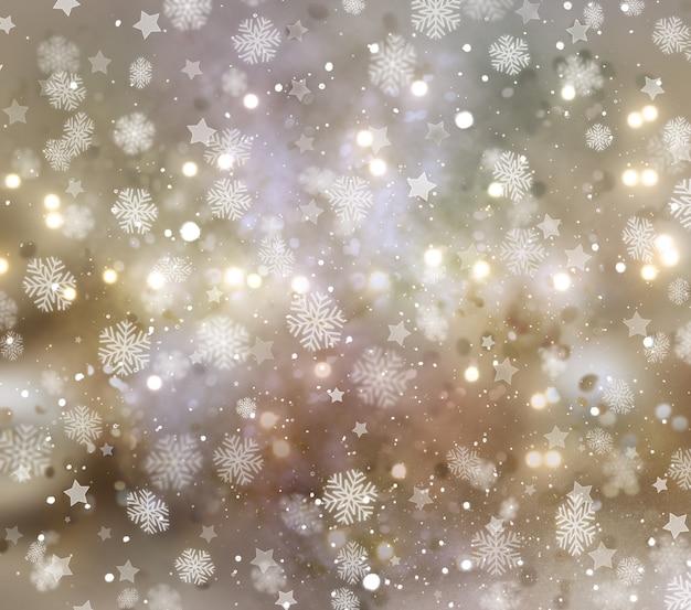 Sfondo di natale di fiocchi di neve e stelle Foto Gratuite