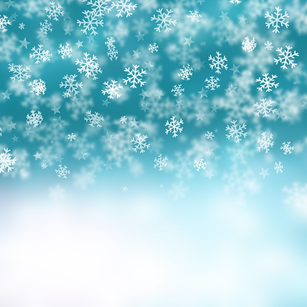 Christmas background of snowflakes and stars Free Photo