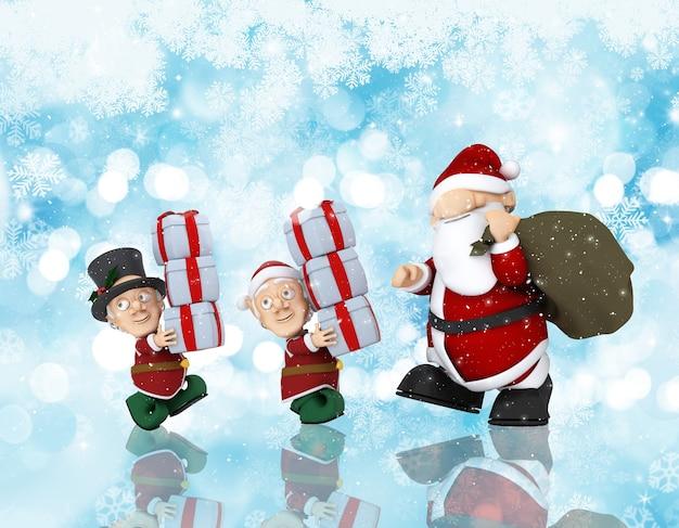 산타와 그의 도우미의 3d 렌더링 크리스마스 배경 무료 사진