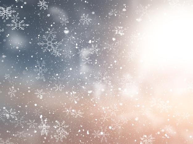 雪のデザインとクリスマスの背景 無料写真