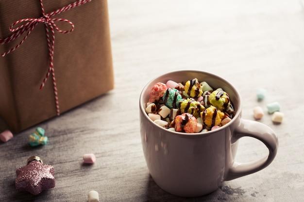 Christmas background with coffee Premium Photo