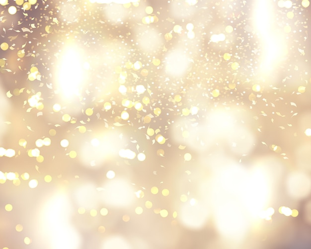 Christmas background with confetti and bokeh lights Free Photo