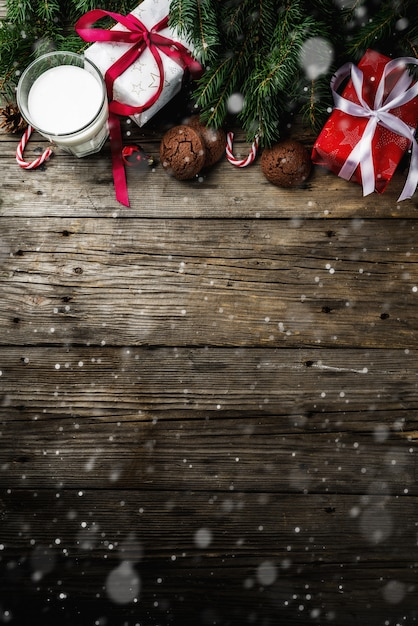 Christmas background with decorations Premium Photo