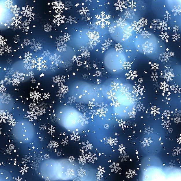 Новогодний фон с падающими снежинками Бесплатные Фотографии