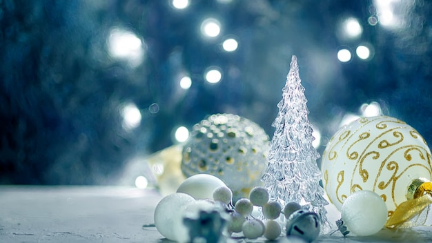Christmas background with  fir branches, gifts, christmas toys Premium Photo