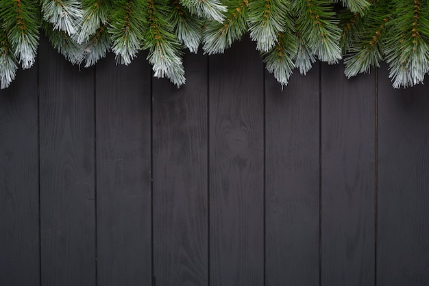 Christmas background with fir tree and decor. top view with copy space Premium Photo
