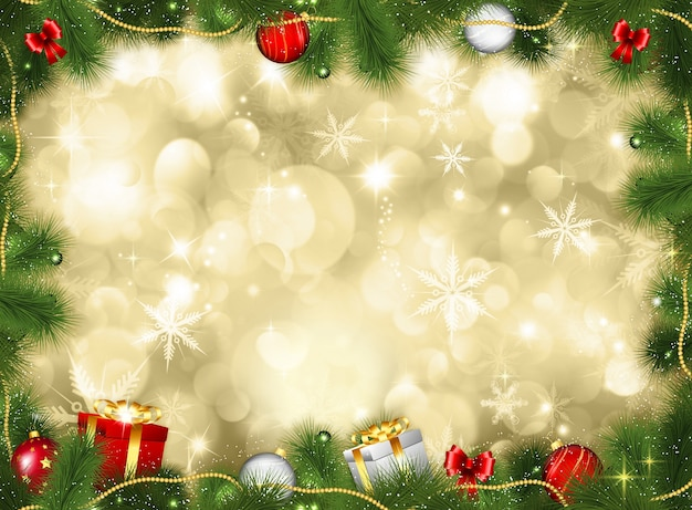 Free Christmas Background Images.Christmas Background With Gifts And Baubles Photo Free