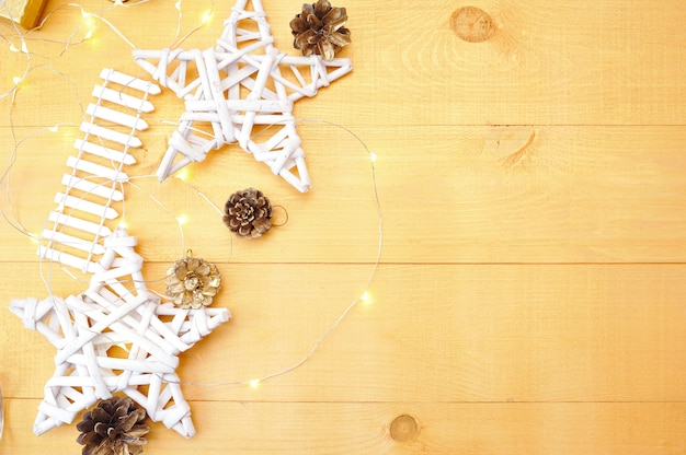 Christmas background with place for your text and white christmas tree and star Premium Photo