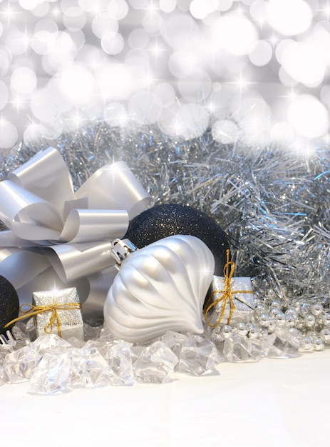 Christmas background with silver and black decorations - Black and silver christmas ...