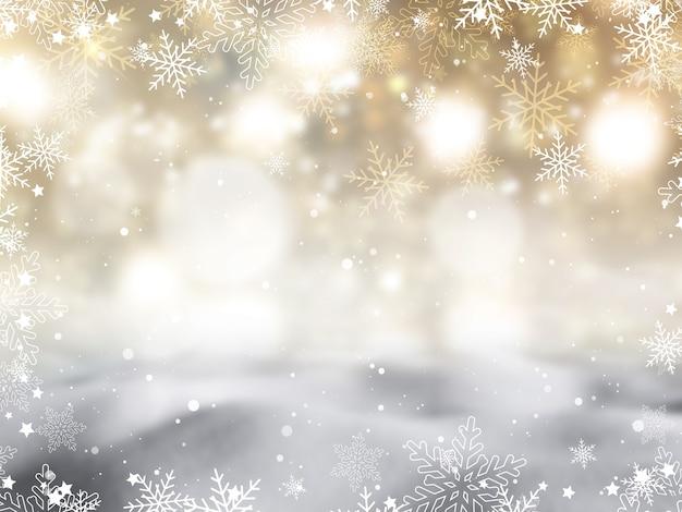 雪片と星のデザインとクリスマスの背景 無料写真