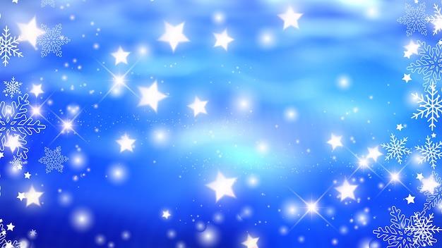 Sfondo di natale con fiocchi di neve e disegni di stelle incandescenti Foto Gratuite