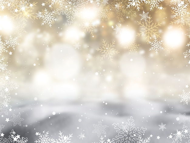 Christmas background with snowflakes and stars design Free Photo