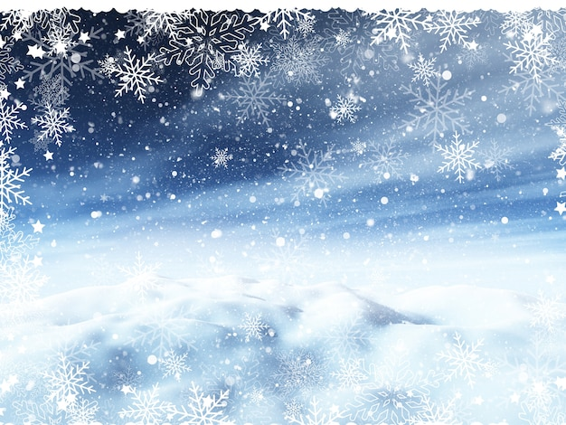 Christmas background with snowy landscape and snowflake border Free Photo