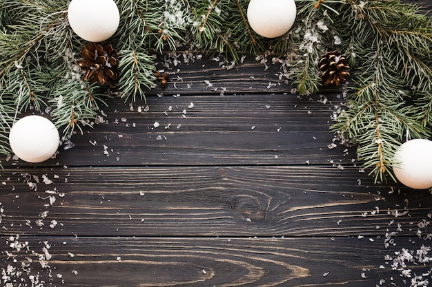 Christmas Background On Wooden Texture Photo Free Download