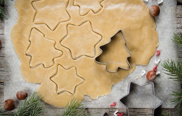 Christmas Bakery Concept Gingerbread Raw Dough For Christmas