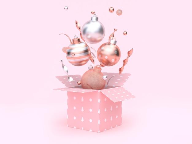 Christmas ball floating gift box opening pink background Premium Photo