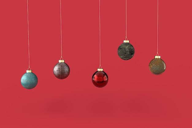 Christmas balls minimalist wallpaper . 3d rendering . 3d illustration. merry christmas concept Premium Photo