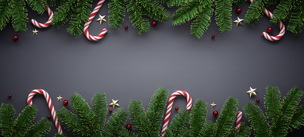 Christmas banner with seasonal ornament Premium Photo