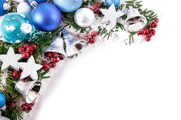 Christmas border with balls and bells photo free download