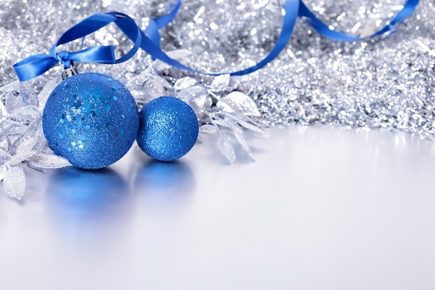 Christmas border with blue balls Photo | Free Download