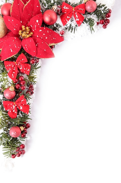 Christmas Border With Flowers And Bows Photo Free Download