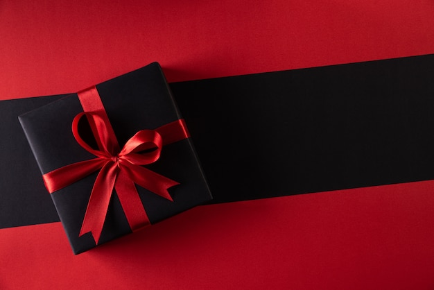 Christmas boxes on background with copy . black friday and boxing day Premium Photo