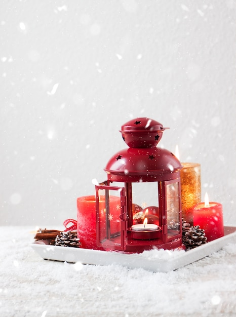 Christmas candles with christmas decorations, christmas or ...