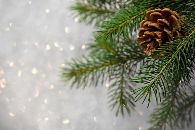Bokeh 배경에 나무에 크리스마스 카드 소나무 콘 프리미엄 사진