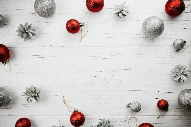 Christmas composition of bright baubles Free Photo