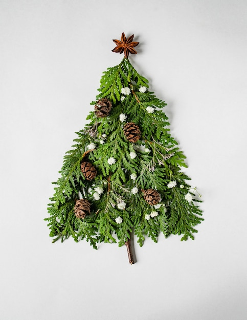 Christmas composition in shape of christmas tree with branches of thuja, flowers and cones. flat lay Premium Photo