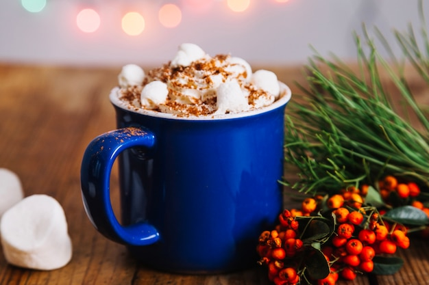 Christmas composition with delicious coffee Free Photo