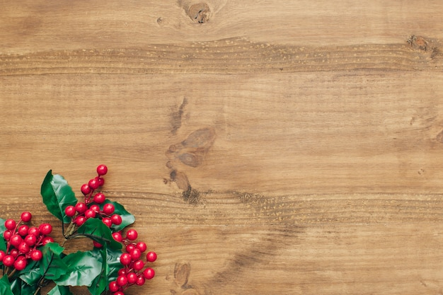 Christmas composition with mistletoe on the bottom. Free Photo