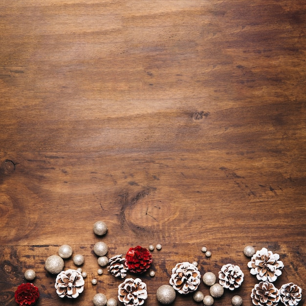 Christmas Composition With Pine Cones And Space On Top Free Photo