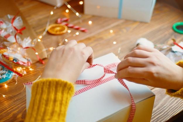 Christmas composition with present box. Premium Photo