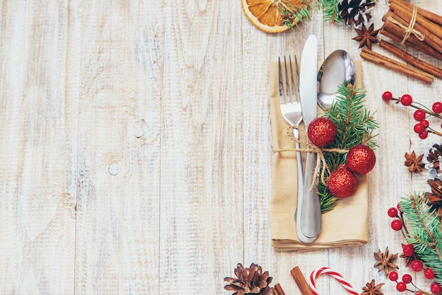 Christmas composition with table setting Premium Photo