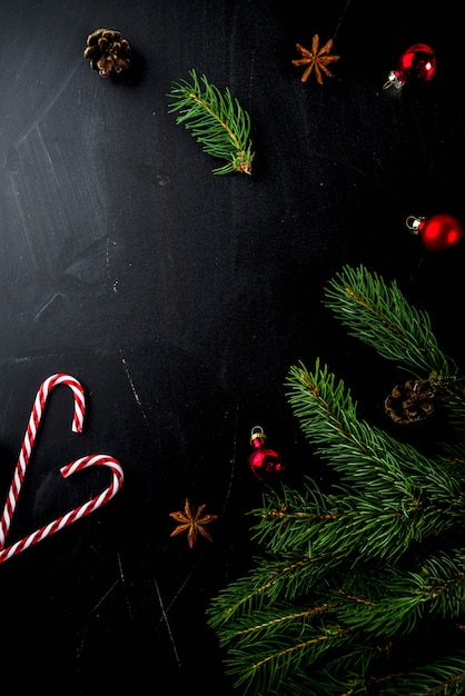 Christmas concept with decorations, fir tree branches Premium Photo