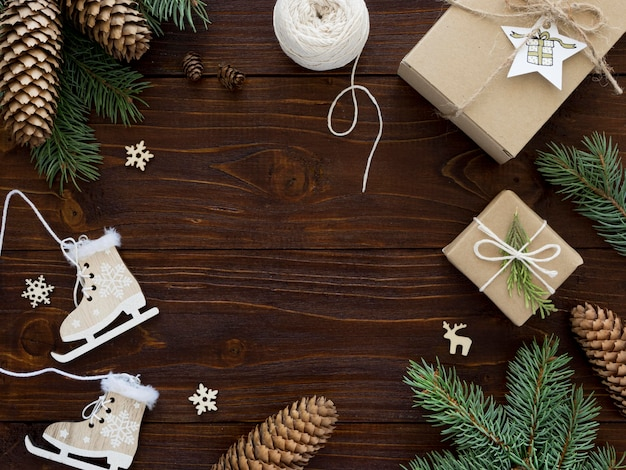 Christmas concept on wooden table with copy space Free Photo