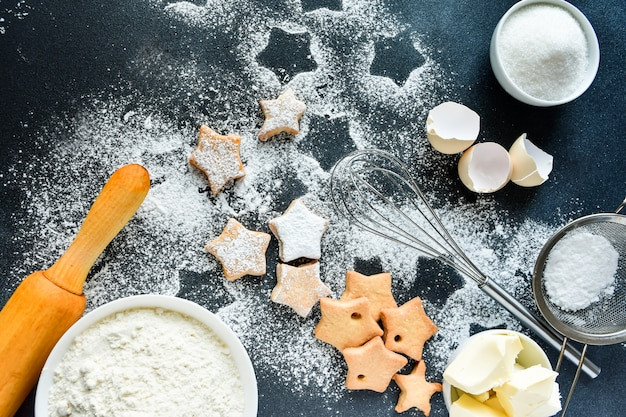 Christmas cookies in the shape of stars Premium Photo