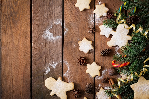 Christmas cookies and tinsel Free Photo
