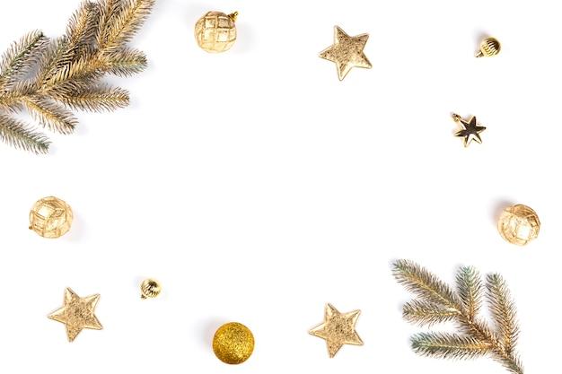 Christmas decoration flat lay background Premium Photo