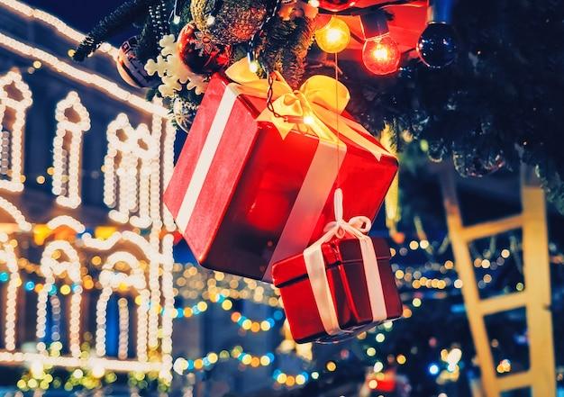 Christmas decoration gift box fir tree illumination lights Premium Photo