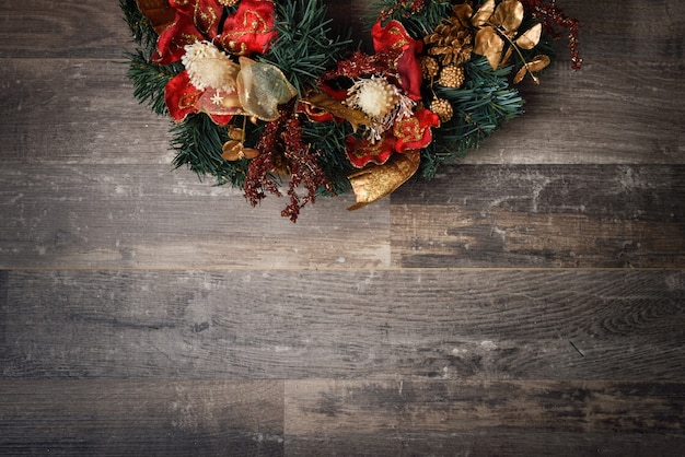 Christmas decoration on dark wooden board Free Photo