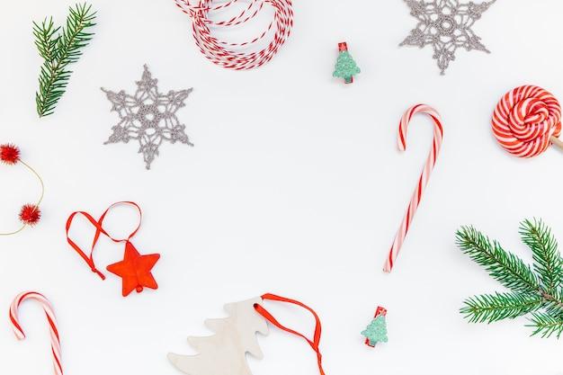 Christmas decoration pattern on white background Premium Photo