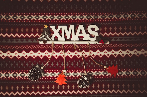 Christmas decoration on red and white pattern Premium Photo