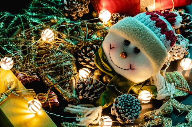 Christmas decoration, teddy and lights Premium Photo