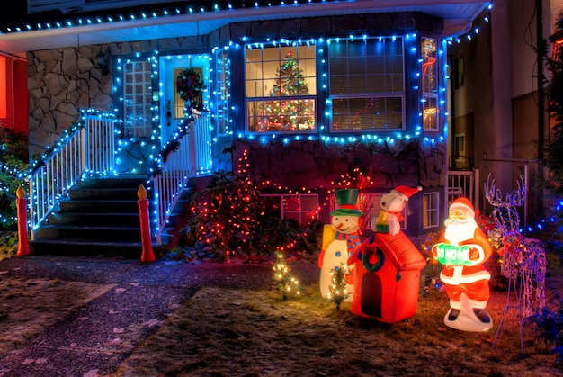 Christmas decoration with colorful bulbs Free Photo